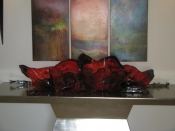 Red Flowers Glass Sculpture