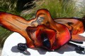 Red Lilly Glass Sculpture